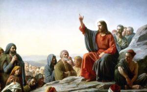 El Sermón del monte. Óleo sobre tela de Carl Heinrich Bloch (1834–1890)